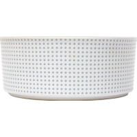 PetRageous Dots Keramikskål Vit/Turkos (S)