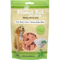 Planet Pet Society 2in1 Treats Kyckling & Risbitar (80 gram)