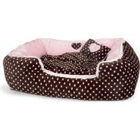 Soft Velour Polka Dimple Bed - Pink - Large