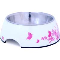 Kattmatskål Melamin Vit med rosa fjärilar